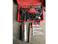 Hilti Core Drill DD-110v D with 3 core cutters. 122mm, 52mm, 42mm. With 2 x additional 52mm heads