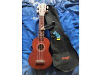 Stagg US10 Traditional Soprano Ukulele Dark Natural with Case, Plectrums and a Guitar Tool