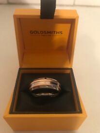Mens Titanium / Rose Gold Ring