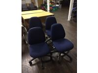Blue office swivel chairs