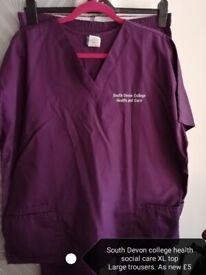 South Devon college health social care uniform purple L XL