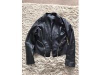 Black faux leather jacket size 10