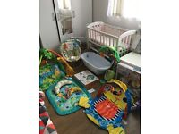 Baby Bouncer, Play Mats, Cot bed Mobile, Crib, Bath