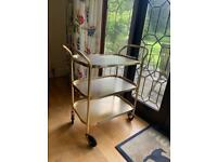 Gold Kitchen Trolley / Terrace Bar Cart with Gold Tray Add On