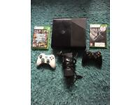 Xbox 360 250gb console with 2 controllers and 17 games