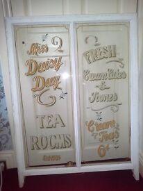Sign written window panel