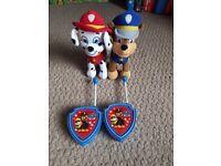 Paw patrol walkie talkies and soft toys
