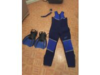 Diving suit and snorkel and flippers