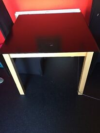 Black solid extendable dining table