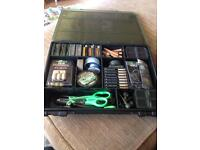 !! LARGE FOX SINGLE TACKLE BOX RAMMED WITH HIGH END TACKLE !!
