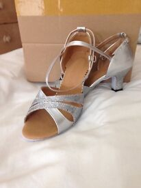 Silver glitter dance shoes