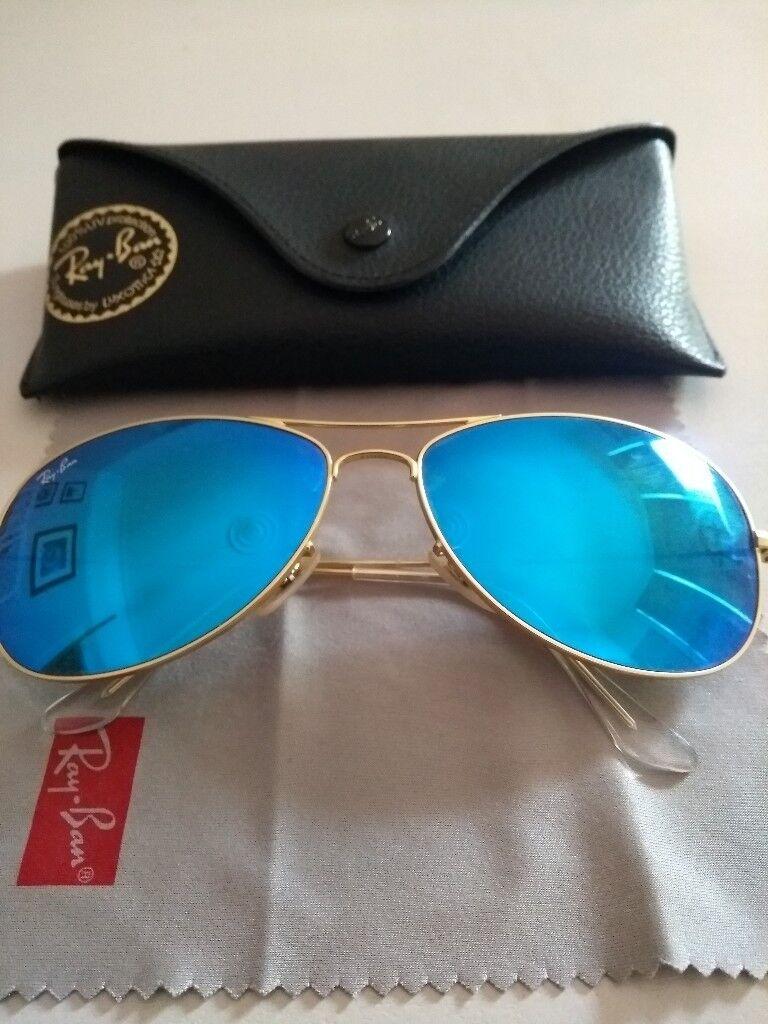 135f3d88f9c ... promo code ray ban cockpit sunglasses gold frame blue mirror lenses  d4699 22301