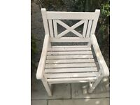 Two white wooden John Lewis garden chairs - FREE