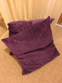 2 velvet purple cushions -£4 for both