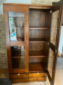 Solid dark wood display cabinet