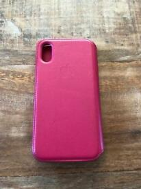 Genuine leather Apple case. iPhone X. Berry colour