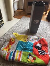 Travel cot and mattress/ play mat grey and black