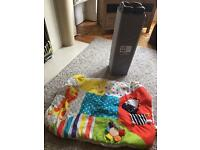 Travel cot and mattress/ play mat grey and black