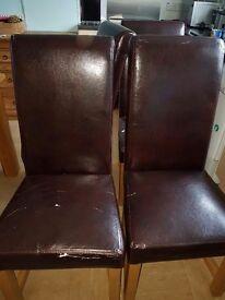 Six scroll back chair with oak frames