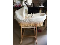 Cream moses basket and rocking stand