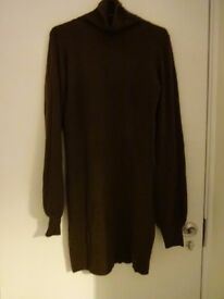 Woman Brown Dress - Turtle neck - Very Comfortable, warm and soft