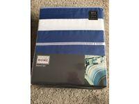 Blue stripped single duvet set