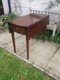 Solid Mahogany Strongbow Regency-Style Pembroke Table