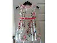Next Floral Summer Dress with belt and underskirt age 5 Years £4