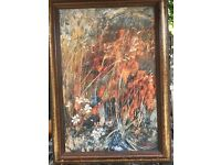 Oil painting on board wild flowers scene 52cm x 72cm frame