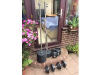"1"" metal weight plates, Marcy bench, 2x barbells, EZ bar & dumbbells"