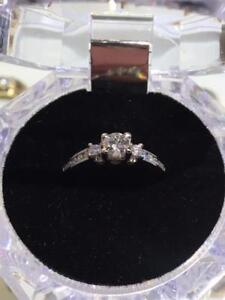#1308 14K LADIES WHITE GOLD ENGAGEMENT RING **PAST PRESENT FUTURE** 2 DIAMONDS INSIDE THE BAND ~ SIZE 6