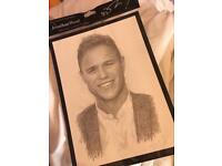 Sketched Pictures of Olly Murs and Brad Simpson.