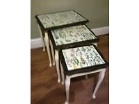 small nest of tables shabby chic decoupage