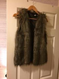 Brown fur gilet H&M size 10