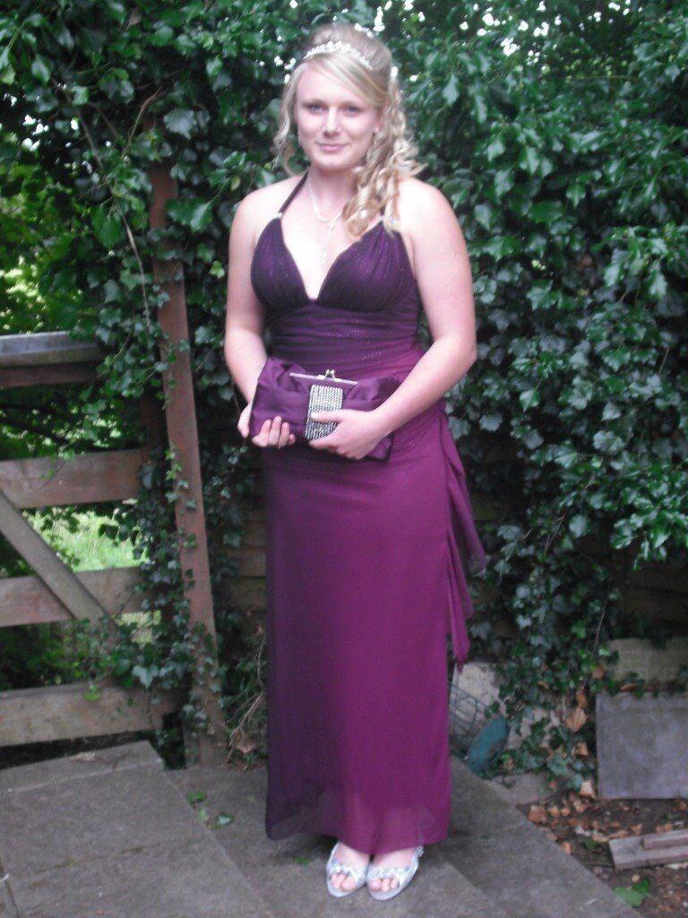 Betsy Adam Size 12 Purple Sparkle Fade Prom Dress With Diamante
