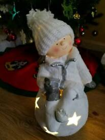 Rustic Christmas light up child on snowball