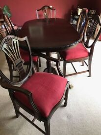 Mahogany table and chairs. Beautiful condition rose pink velvet seats
