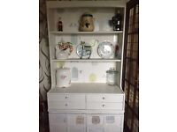 White kitchen pantry unit with light