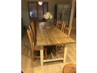 9ft long vintage dining table and chairs