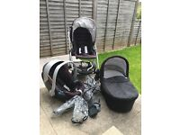 Mamas and papas Sola pushchair, pram, car seat and adaptors and rain covers. Good condition