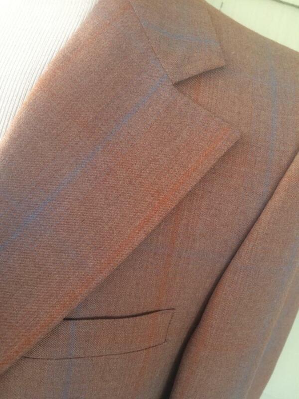 Vtg NWT MOD Phoenix clothes 60s 70s brown blue poly wool plaid suit 42R 36