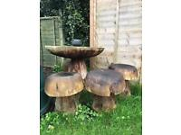 Lovely garden table and 4 chairs in a shape of mushrooms!!!