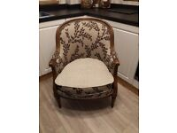 Antique oak french open back tub chair oatmeal, armchair, free local delivery available