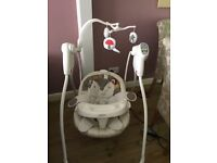 Graco Baby Swing, mint condition, hardly used, 6 speeds, music and volume control, attached mobile