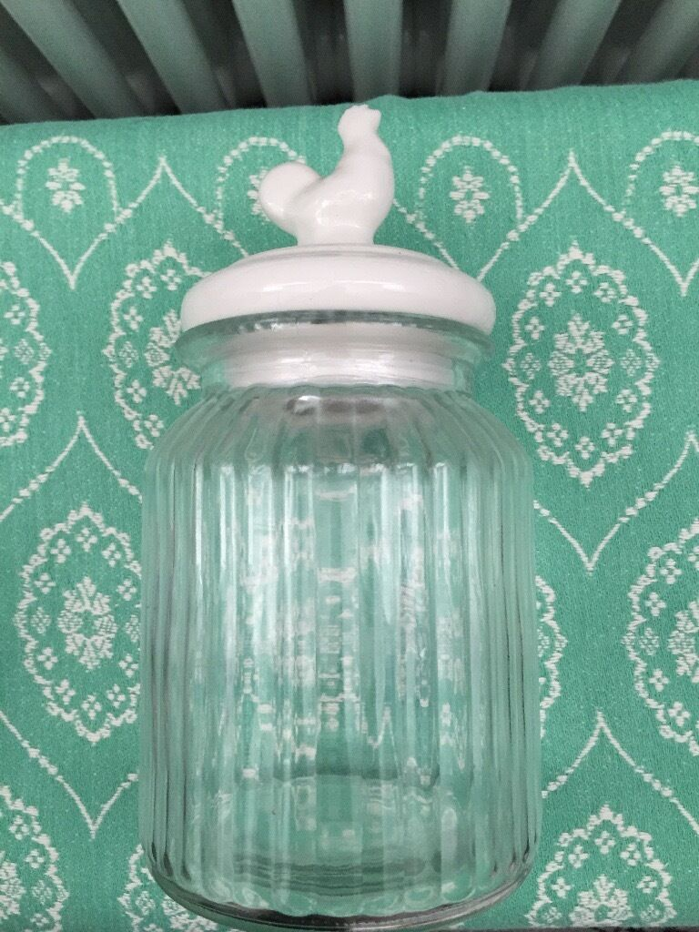 pretty chicken glass jar canister country kitchen container food