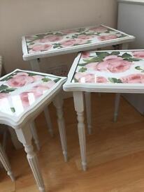 Beautifully restored shabby chic tables