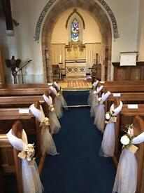 Wedding pew ends church decoration