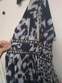 Black and white maxi dress size 12