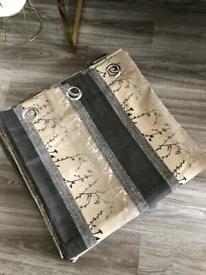 Dunelm Print Gold/Grey Tones Silver Eyelet Lined Curtains 90''x90'' 228cmx228cm