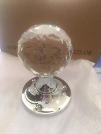 Glass ball door knob chrome